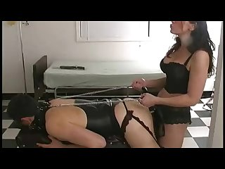 Dirty talk mistress trains her anal slave with strapon