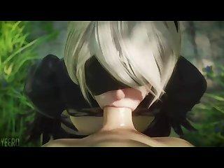 3d hentai nier automata 2b blowjob
