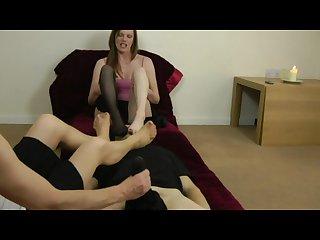 Feet sniffing handjob femdom