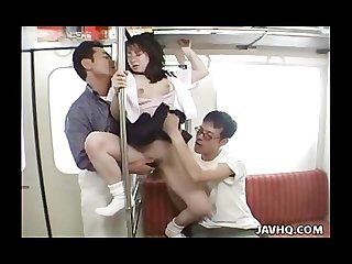Great japanese pussy licking action in train