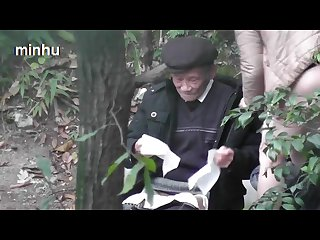 Chinese grandpa fuck in woods