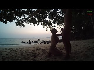 Blowjob handjob after sunset on public beach russian teen make horny guy