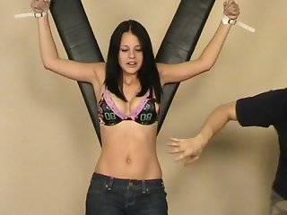 Staci s ticklish belly and belly button tickle torture
