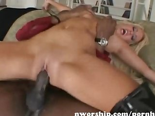 Blonde sucks and fuck a big black dick and lick black ass rimming