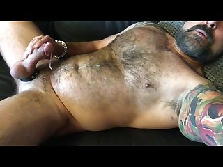 Hot hairy daddy jerks off cums for me