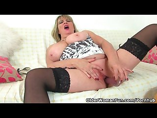British milf alisha rydes massages her big tits and fucks a dildo