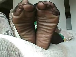 Warm ebony stinky soles in stockings i dont own
