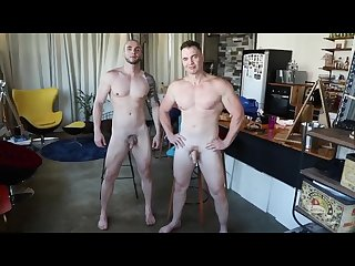 Naked model posing photo shoot preview from muscledom tv
