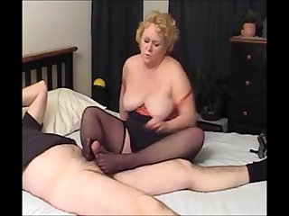 Granny stockings footjob