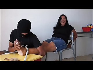 Super ticklish and laughing pia tied at chair