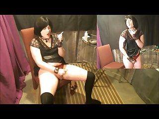 Humiliated submissive chain smoking sissy crossdresser exposed masturbating