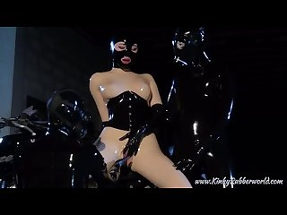Latex catsuit biker babe tied and fucked