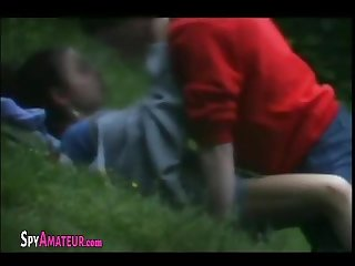 Voyeur filmed teen couple fucking outdoors