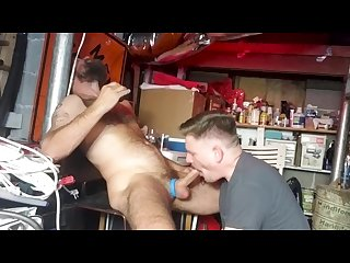 Giving andy a blowjob in the Basement