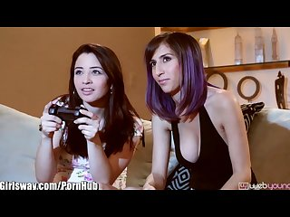 Girlsway April o neil lesbian licking after gaming