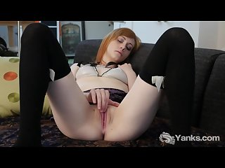 Stockinged alana masturbating her pussy