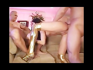 Anal threesome for anl brunette