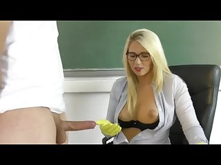 German milf sucks and jerks off guy in household gloves