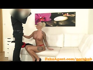 Fakeagent horny blonde model fucks for a job in office