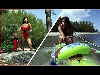 BANGBROS - Latina Lifeguard Valerie Kay Rescues A Big Black Cock