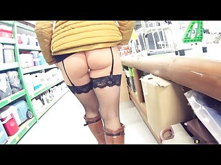 Walk on the ikea without panties in stockings