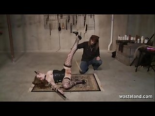 Bdsm floor workout pretty female submissive bound on the floor and caned
