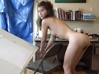 Babe showing very hairy pussy on webcam