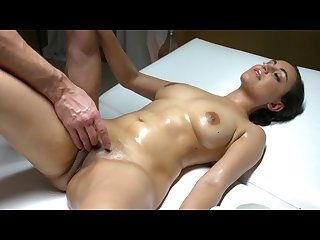 Sexy afghan british babe fucked on massage table