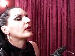 Mistress sivia evil mistress smoking and ass licking in latex
