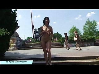 Naked teen Lucy has fun in public