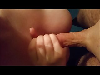 Sexy handjob with cumshot on huge tits