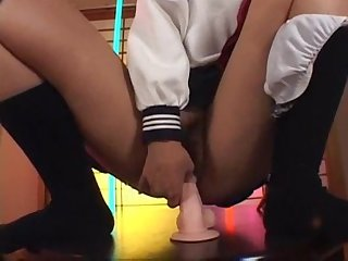 Japanese salor uniform school girl love her dildo