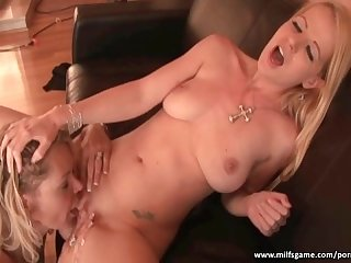 Horny sluts having fun with big dildo