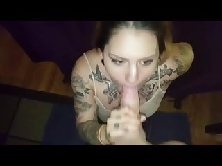 Who is this chick with tattoos deepthroating her man s large cock