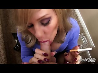 Erotic Nikki milf gives pov blowjob while smoking a newport cigarette