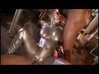 Silver paint robot fucks 2 dudes