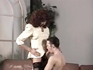 Vintage cd in stockings fucking a guy