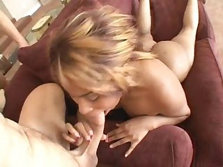 Ebony whore gives four white guys great blowjobs
