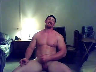 Str8 Ginger muscle stud jerks off cums webcam