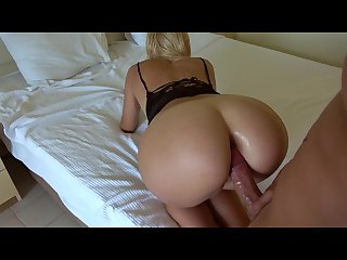 Grinding sloppy bj handjob anal fingering and cumshot on ass in hotel
