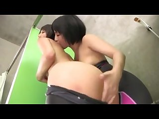 Japanese lesbian kiss in the shower