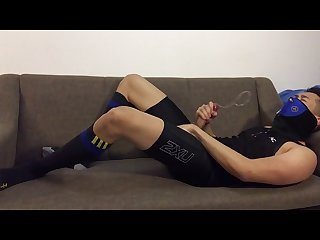 Post-workout jerk-off: Slowmo cum in tights and football socks