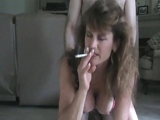 Hot mom milf doggy style smoking sex
