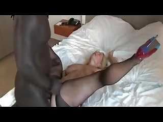 Hot mature takes a big black dick in her ass