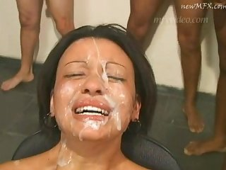 Dirty brazilian cumslut cries during a messy bukkake