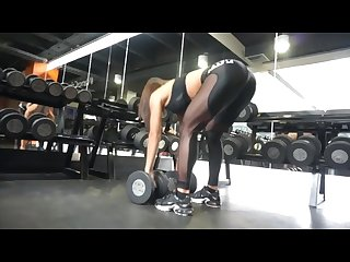 Hot brunette in tight black leggings sexy juicy bubble ass workout fitness!