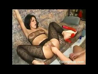 Slut gets extreme fisting deepthroats dildo legs spread she loves it
