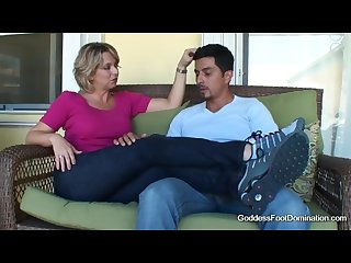 Foot smelling handjob