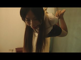 Chinese babe in bondage and Ballgagged