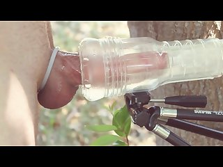 Fleshlight cock milking in the sun